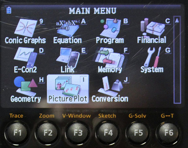 closeup of the screen display of the graphing calculator