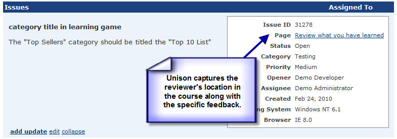 screenshot of the customer feedback component panel