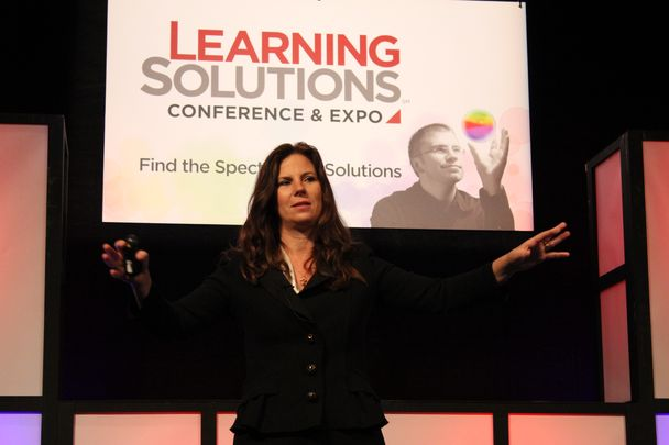 photo of Nancy Duarte presenting her keynote at Learning Solutions Conference and Expo