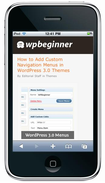 Wordpress site components shown on the iphone screen