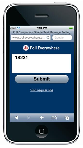 polling app on the iphone screen with submit button
