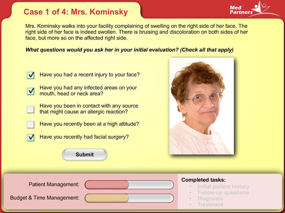 image of lady to be diagnosed with a checkbox list of questions