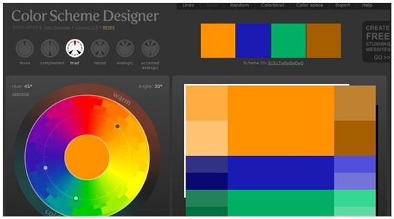 screenshot of Color Scheme Designer with a color wheel, with a swatch of palettes