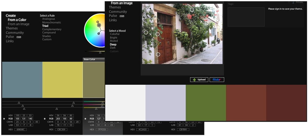 Kuler UI showing master properties  panel with color wheel, and palettes