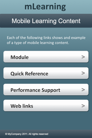 iphone screenshot of main menu with navigations of Module, Quick Reference, Performance Support, Web links