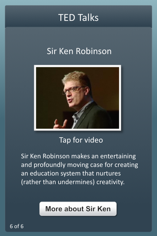 screenshot title TED Talks, with thumbnail linking to video