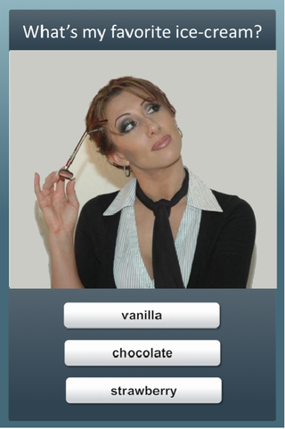 screenshot of choice screen titled What's my favorite ice cream? with options vanilla, chorolate, and strawberry