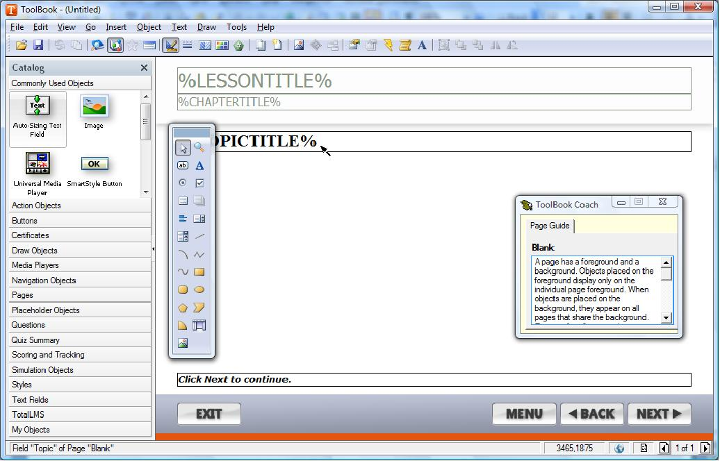 screenshot of application interface and toolbox panel