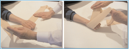 2 stills from a video about bandaging hands