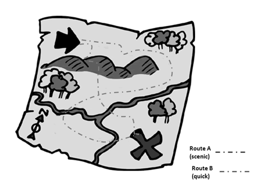 grayscale diagram treasure map