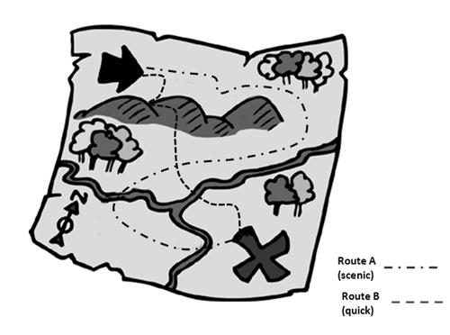 grayscale map with emphasized and distinct path routes