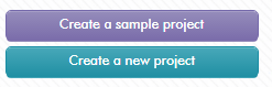 Choices to begin a Gomo Authoring project: as a sample or as a new project.
