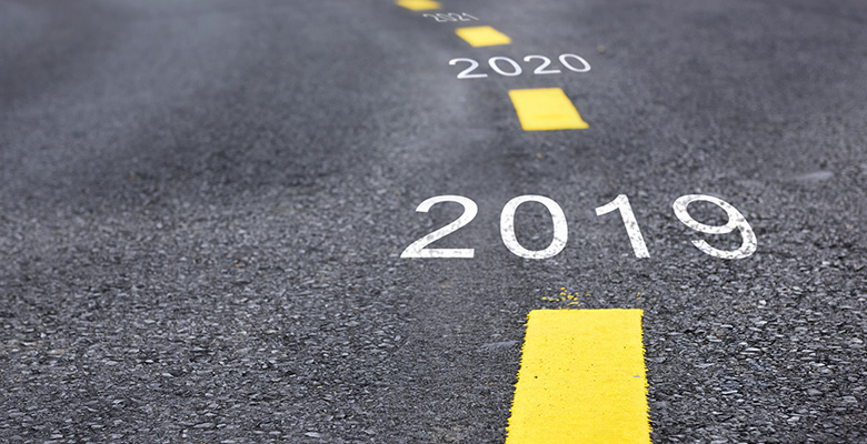 Pavement showing the years 2019 proceeding into 2020