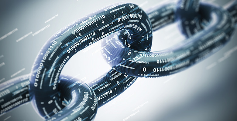 Links of a chain with each link bearing binary computer code