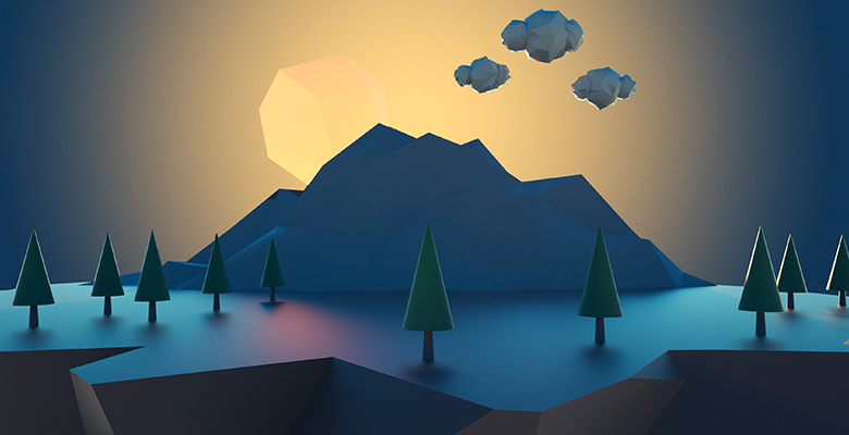 A scene of trees and a mountain