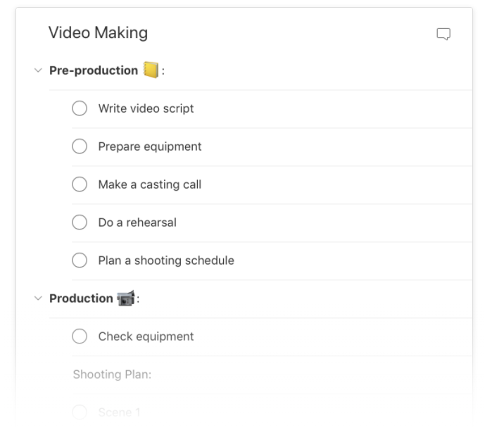 The List view of tasks in Todoist's basic video editing template. This will need to be edited to include all of Jonathan's workflow tasks.
