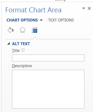The Format Chart Area dialog box has a place where you can enter an alt text description of your chart or graphic.