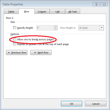 In the Table Properties dialog box, you can decide whether to allow rows to be split across page breaks. This box needs to be unchecked to override Word's default setting.