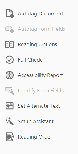 Options on the Adobe Acrobat Accessibility menu include Reading Order.