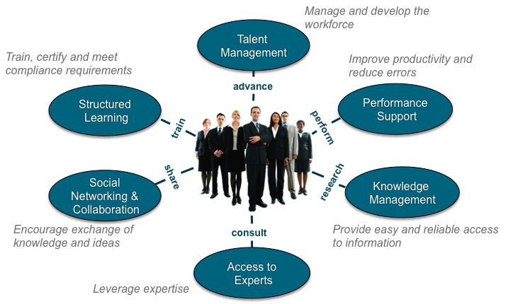The learning and performance ecosystem includes six components: talent management, performance support, knowledge management, access to experts, social networking and collaboration, and structured learning.