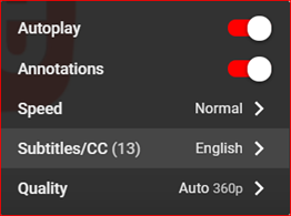 The settings menu allows viewers to choose subtitle or captioning language, if multiple languages are available.