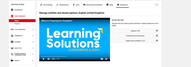 YouTube offers three options: Uploading caption text, automatic transcription, or creating new captions within YouTube.