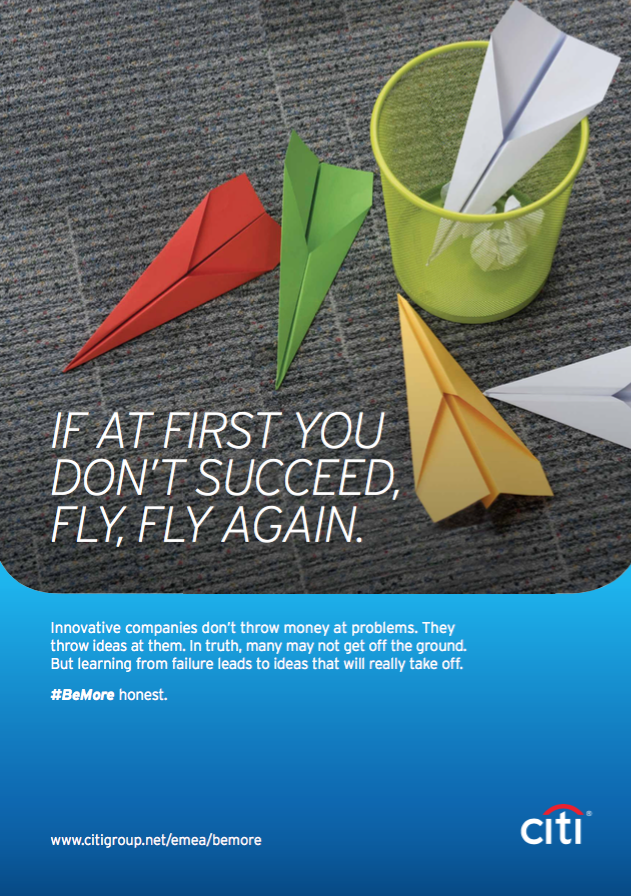 "A Citi motivational poster showing paper planes with the title ""If at first your don't succeed, fly, fly again."""