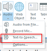 Screen capture showing the location of the Text-to-Speech selection.