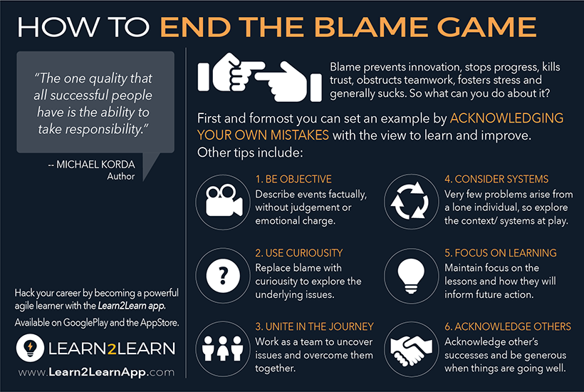 End the blame game by being objective, using curiosity, uniting in the journey, considering context and the system at play, focusing on learning, and acknowledging others.