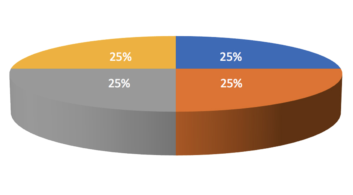 A 3-D pie chart shows four equal wedges, but the perspective makes the front two appear larger than the rear two wedges.
