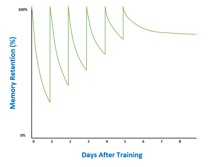 The forgetting curve with spaced repetitions of learning.