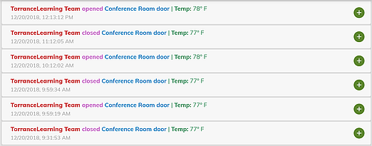 "The simple xAPI statement includes the team name as the ""Actor,"" the activity, and the temperature of the conference room."