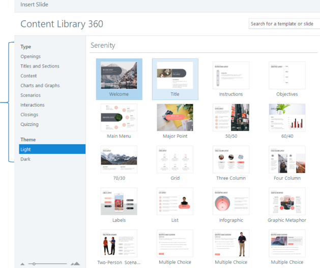 The landing screen for Content Library 360 shows thumbnail images of available resources