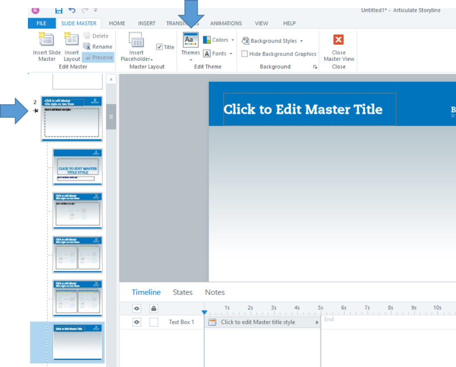 The landing page for editing slide masters shows a variety of slide layouts you can customize