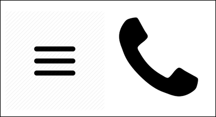 The three-line hamburger icon and a telephone icon are common affordances in digital content